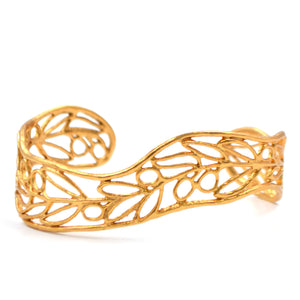 Olive Branch Cuff Bracelet - 24K Gold Plated