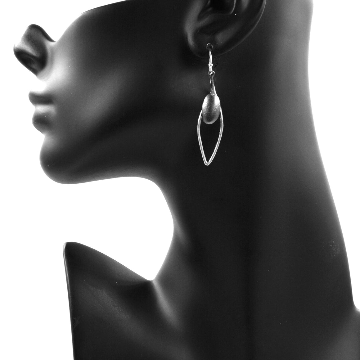 Olive Branch Leaf Earrings - Platinum Silver