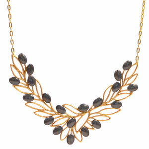 Olive Branch Olives and Leaves Collar Necklace - 24K Gold Plated