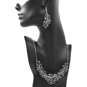 Olive Branch Olives and Leaves Collar Necklace - Platinum Silver
