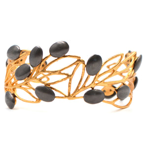Olive Branch Olives and Leaves Cuff - 24K Gold Plated