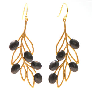 Olive Branch Olives and Leaves Earrings - 24K Gold Plated