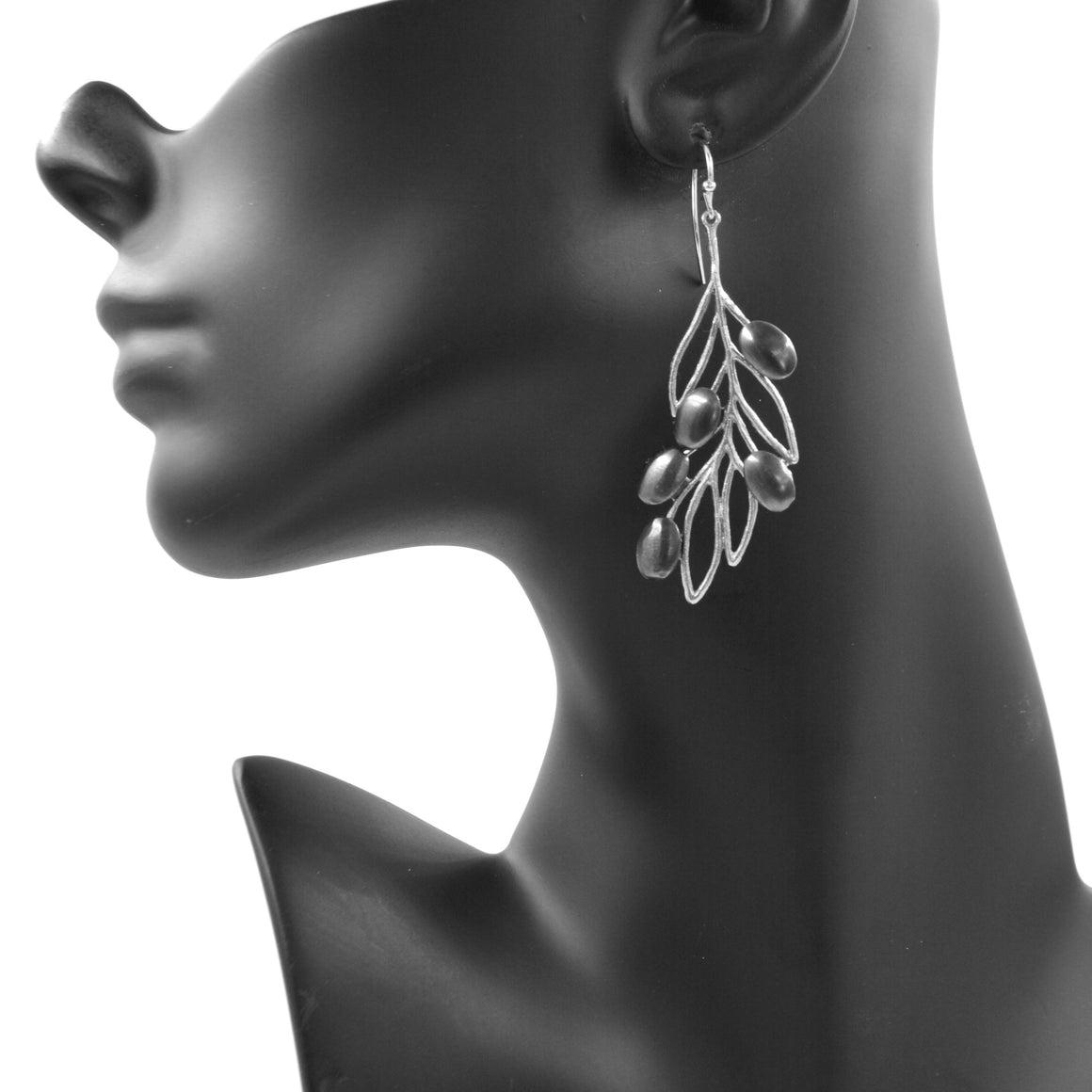 Olive Branch Olives and Leaves Earrings - Platinum Silver