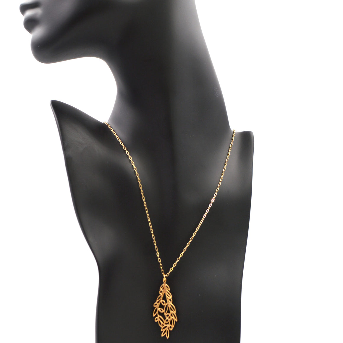 Olive Branch Pendant Necklace - 24K Gold Plated