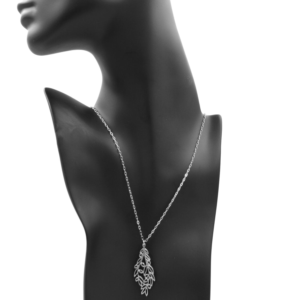 Olive Branch Pendant Necklace - Platinum Silver