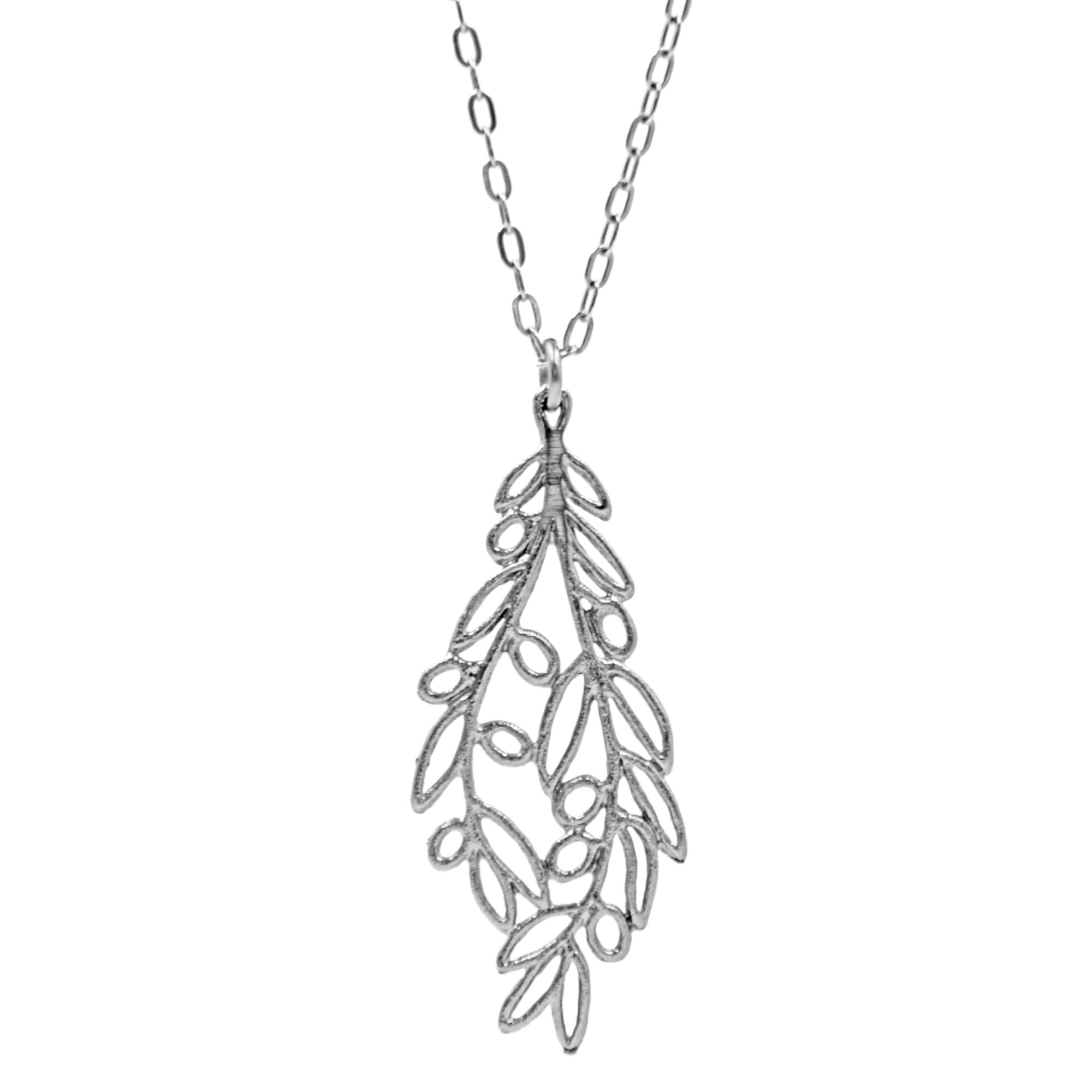 with necklace branch diamonds olive white gold