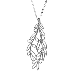 Olive Branch Pendant Necklace (Large) - Platinum Silver