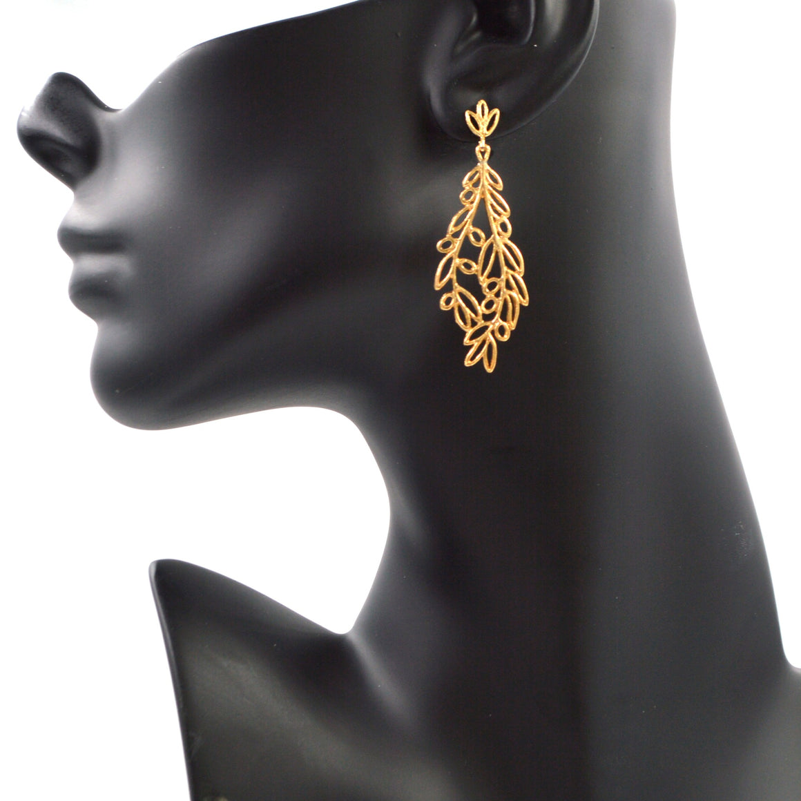 Olive Branch Post Earrings - 24K Gold Plated