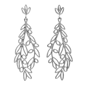 Olive Branch Post Earrings - Platinum Silver