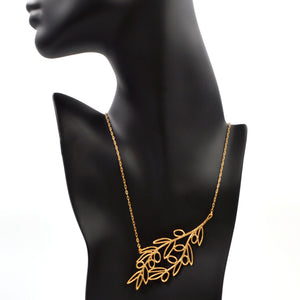 Olive Branch Slanted Collar Necklace - 24K Gold Plated