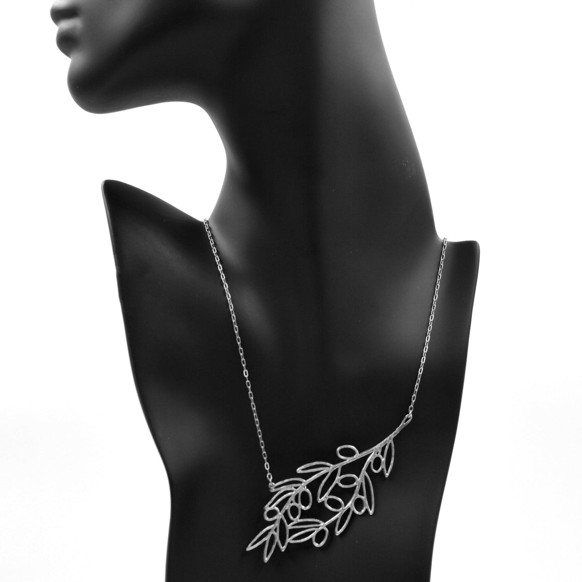 Olive Branch Slanted Collar Necklace - Platinum Silver