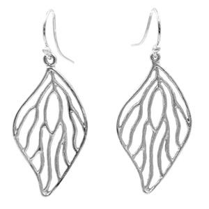 Open Leaf Earrings - Platinum Silver