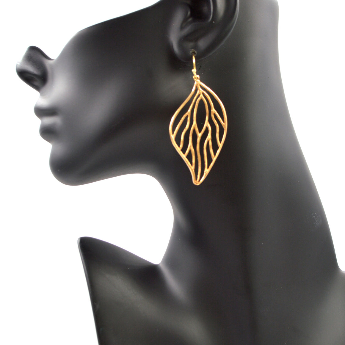 Open Leaf Earrings (Large) - 24K Gold Plated