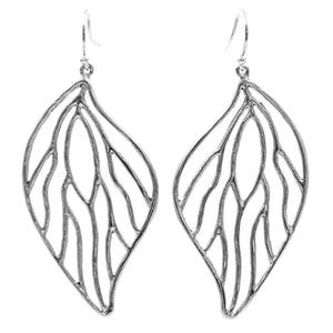 Open Leaf Earrings (Large) - Platinum Silver