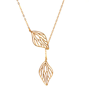 Open Leaf Lariat Y Necklace - 24K Gold Plated