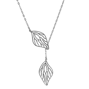 Open Leaf Lariat Y Necklace - Platinum Silver