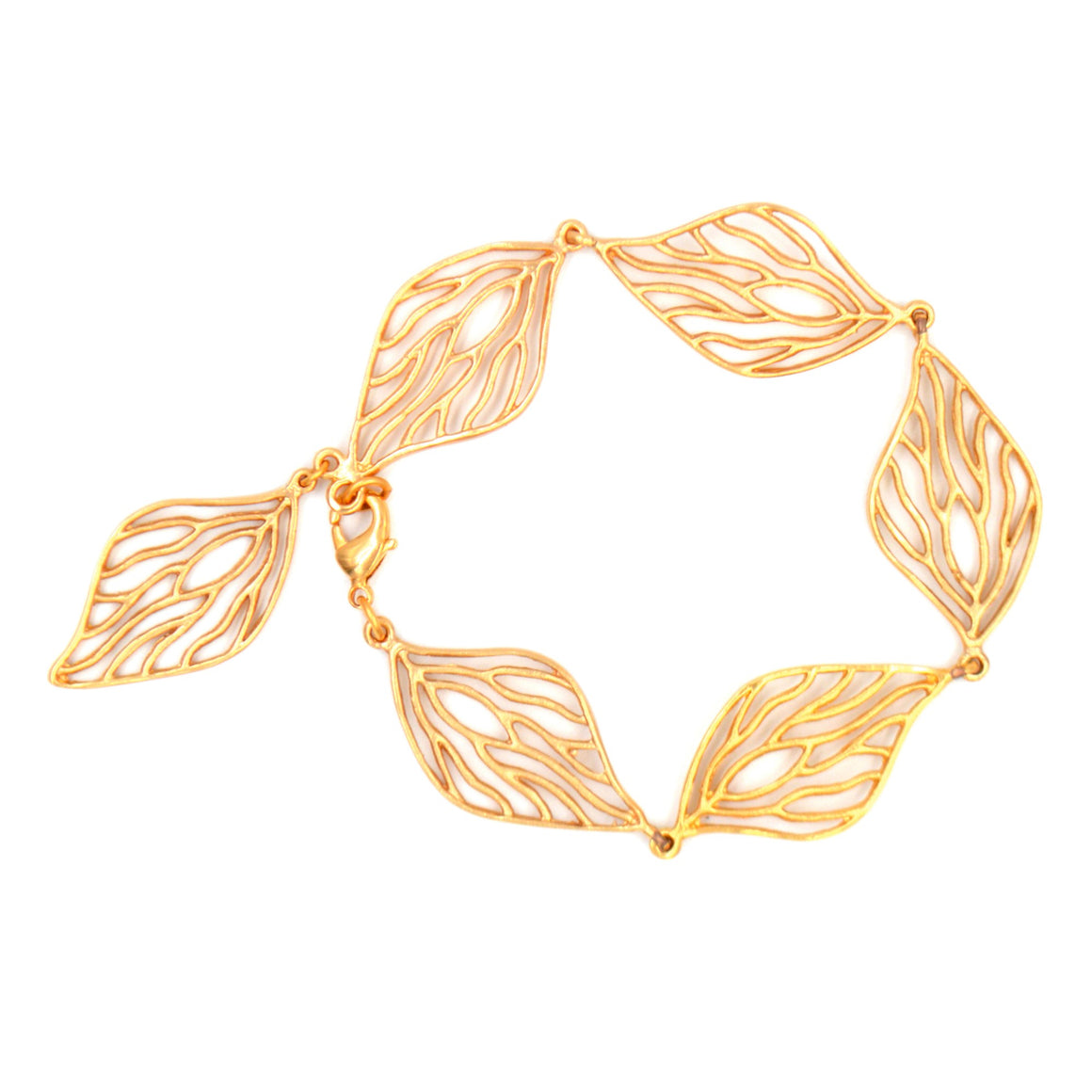 Open Leaf Link Bracelet - 24K Gold Plated