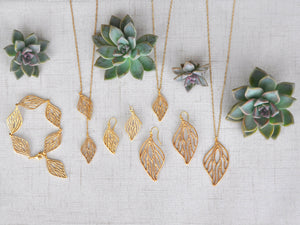 Open Leaf Pendant Necklace - 24K Gold Plated