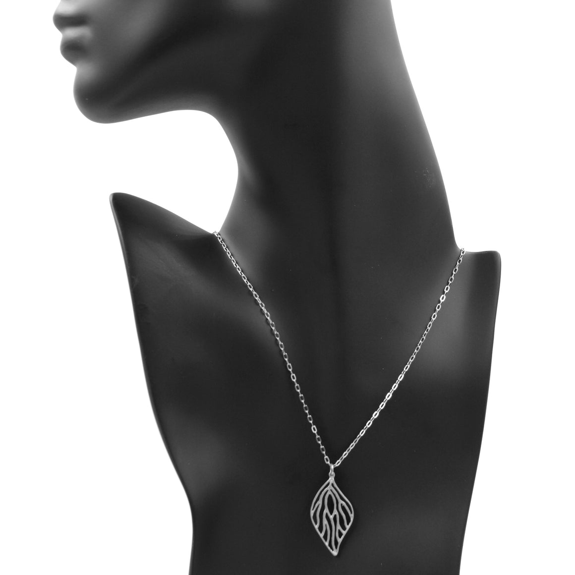 Open Leaf Pendant Necklace - Platinum Silver