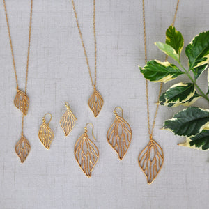 Open Leaf Pendant Necklace (Large) - 24K Gold Plated