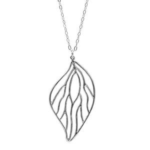 Open Leaf Pendant Necklace (Large) - Platinum Silver