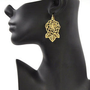 Rose and Leaves Earrings - 24K Gold Plated