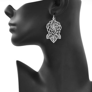Rose and Leaves Earrings - Platinum Silver