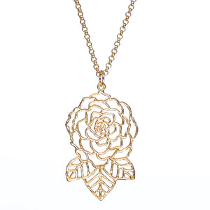 Rose and Leaves Necklace - 24K Gold Plated