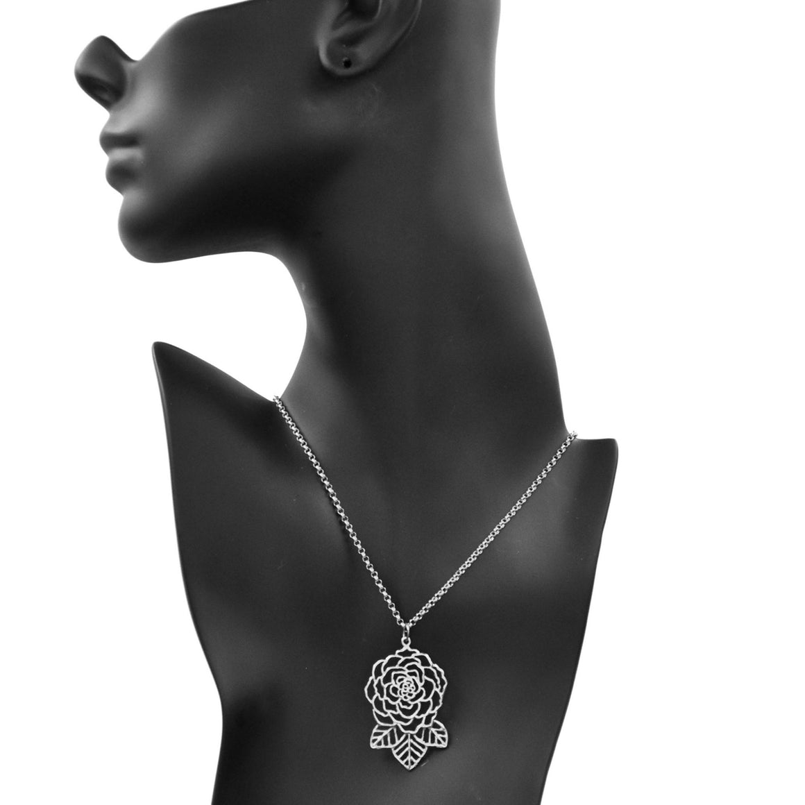 Rose and Leaves Necklace - Platinum Silver