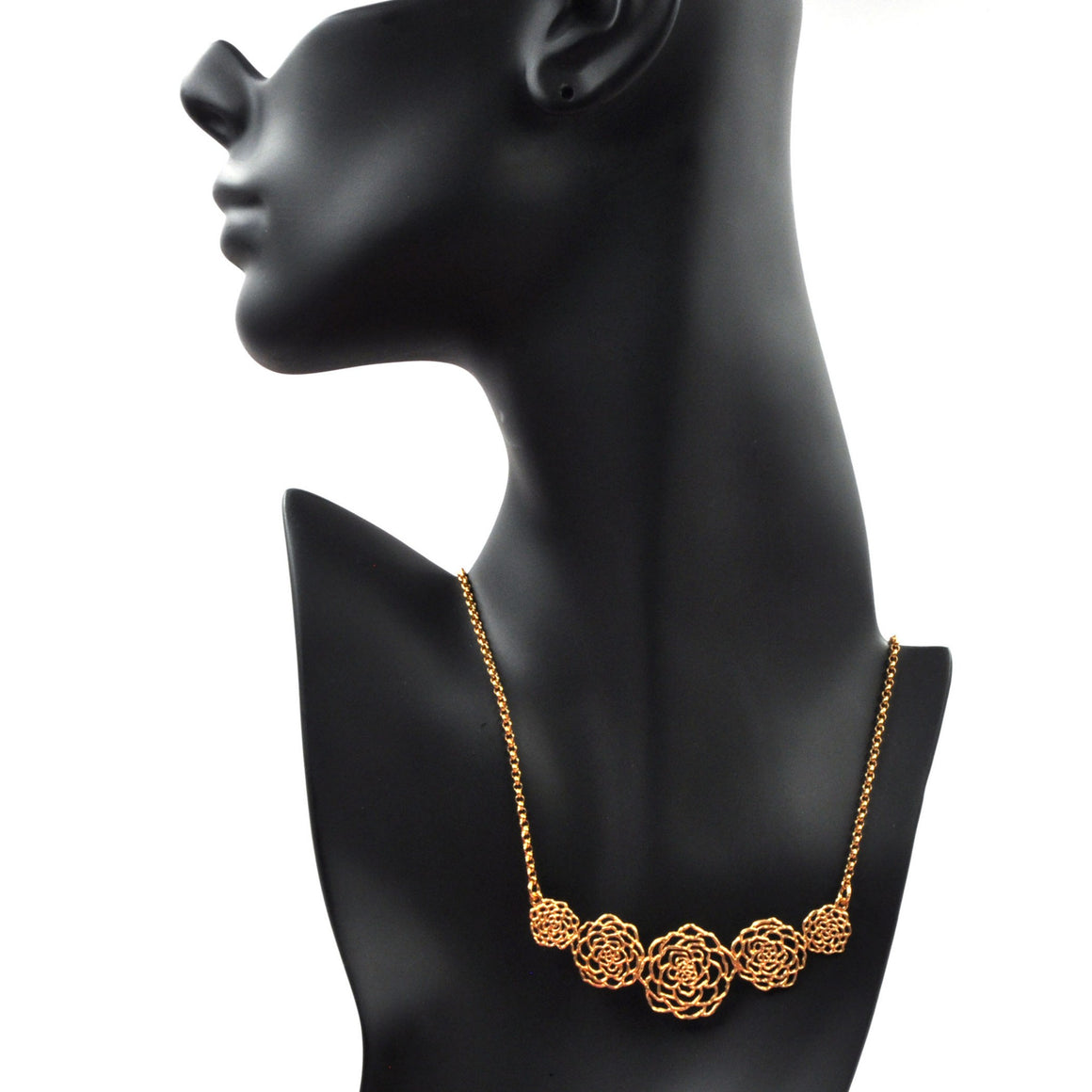 Rose Collar Necklace - 24K Gold Plated