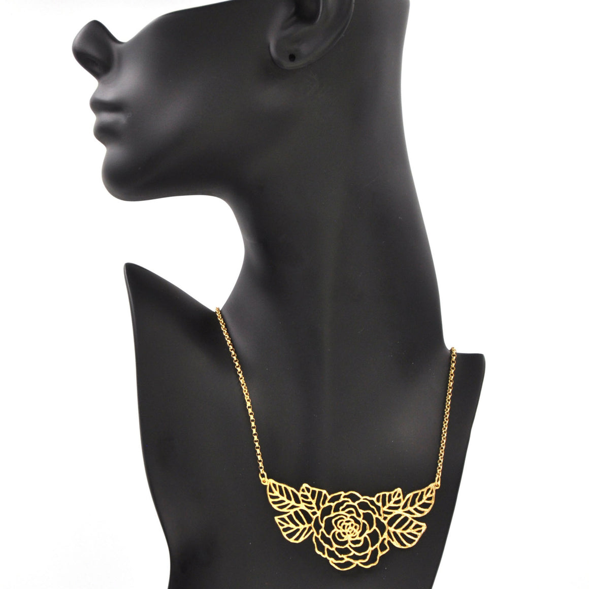 Rose Collar Necklace with Leaves - 24K Gold Plated