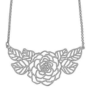 Rose Collar Necklace with Leaves - Platinum Silver
