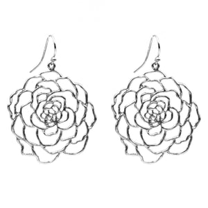 Rose Earrings (Large) - Platinum Silver