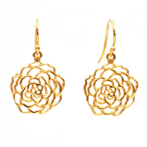 Rose Earrings (Petite) - 24K Gold Plated