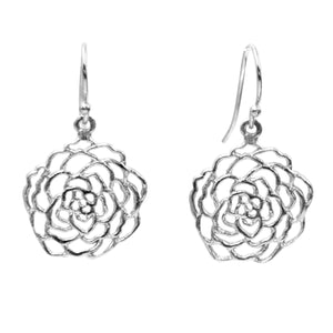 Rose Earrings (Petite) - Platinum Silver