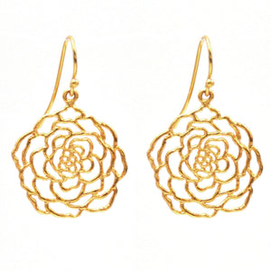 Rose Earrings (Small) - 24K Gold Plated