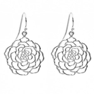 Rose Earrings (Small) - Platinum Silver