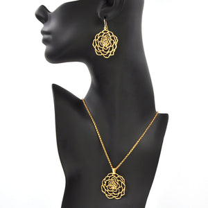Rose Pendant Necklace - 24K Gold Plated