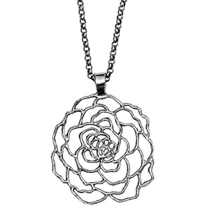 Rose Pendant Necklace - Platinum Silver