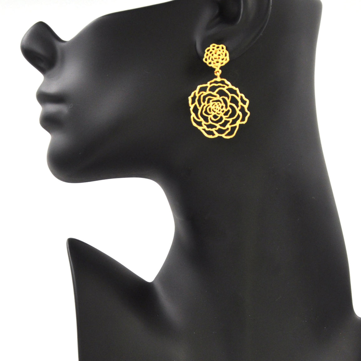 Rose Post Earrings (Large) - 24K Gold Plated