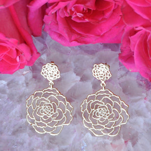 Rose Post Earrings (Large) - Platinum Silver