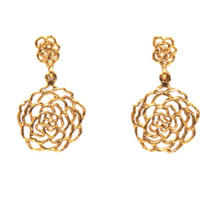 Rose Post Earrings (Small) - 24K Gold Plated