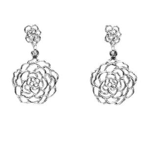 Rose Post Earrings (Small) - Platinum Silver