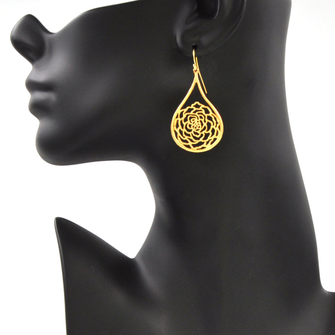 Rose Teardrop Earrings - 24K Gold Plated