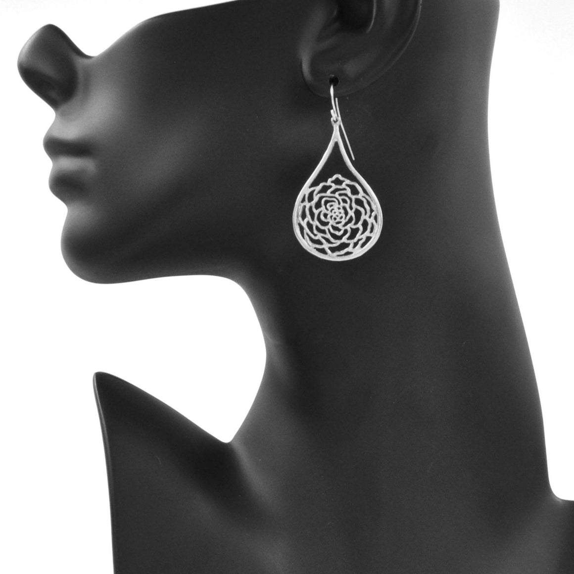 Rose Teardrop Earrings - Platinum Silver