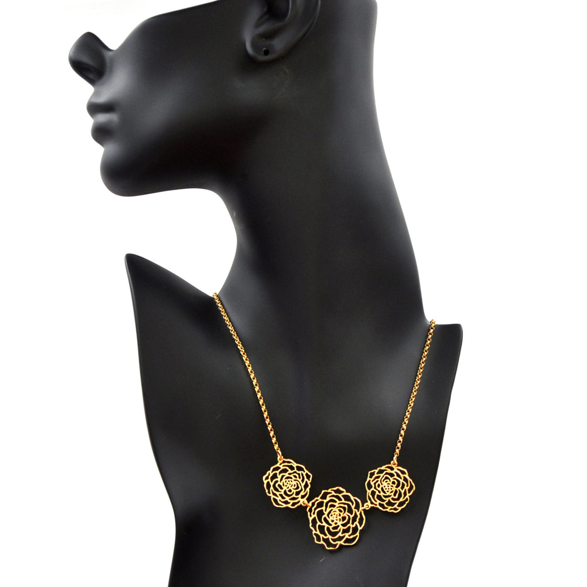 Rose Three Blooms Necklace - 24K Gold Plated