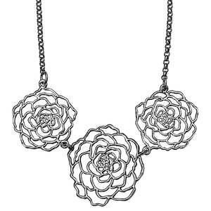 Rose Three Blooms Necklace - Platinum Silver