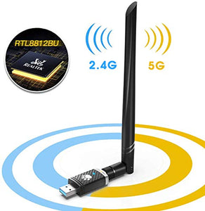 WiFi Adapter for PC Gaming 1300Mbps, USB 3.0 Wireless Adapter Dual Band 5GHz 802.11 AC Wifi Dongle 5dBi Antenna Support Desktop Laptop Windows XP/Vista/7/8/10 Mac, USB Flash Driver Included