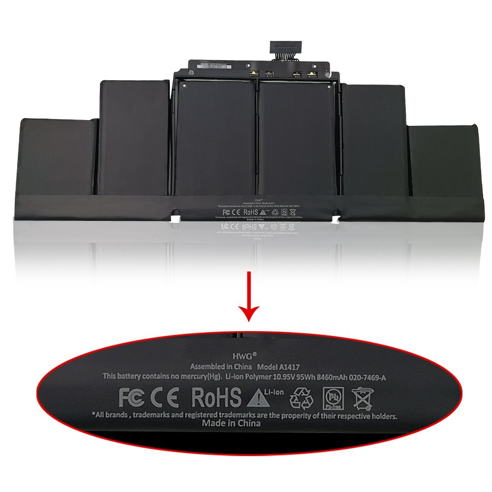 A1417 batterie pour Apple MacBook Pro Retina Modèle A1398 Mid 2012 2013