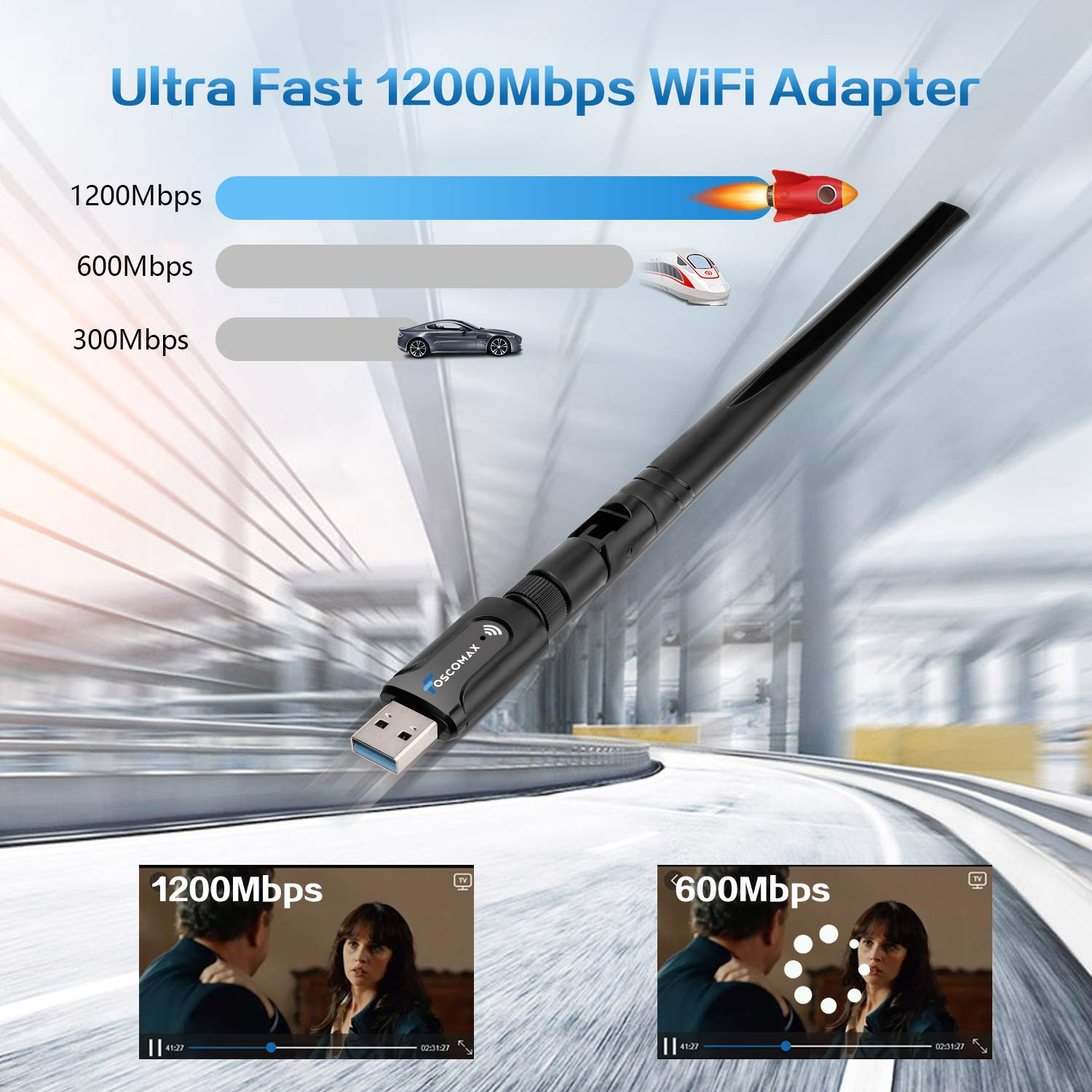 WiFi Adapter, 1200Mbps USB 3.0 WiFi Dongle Dual Band 5.8GHz/2.4GHz